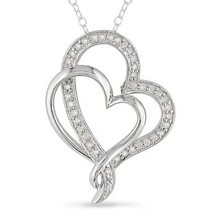 M by Miadora Sterling Silver 1/4ct TDW Diamond Heart Necklace