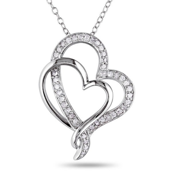 Sterling Silver 1/4ct TDW Diamond Heart Necklace