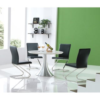 Marble Dining Table with Black Dining Chairs 5-piece Set