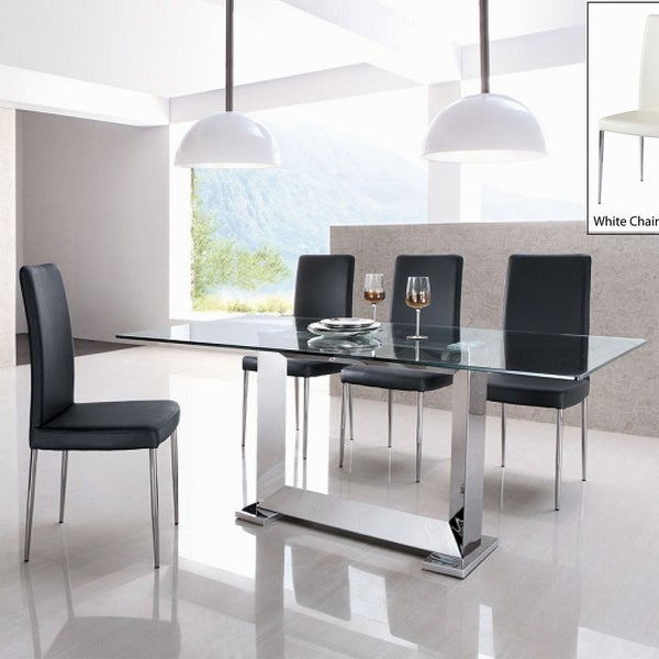 StaInless Steel Dining Table with Dining Chairs 5-piece Set