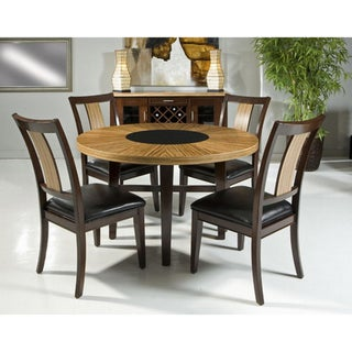 Zebrawood Veneer 5-piece Round Dining Set with Black Glass Insert