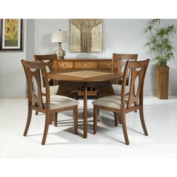 Mid-century Modern 5-piece Round Dining Set with Stone Insert
