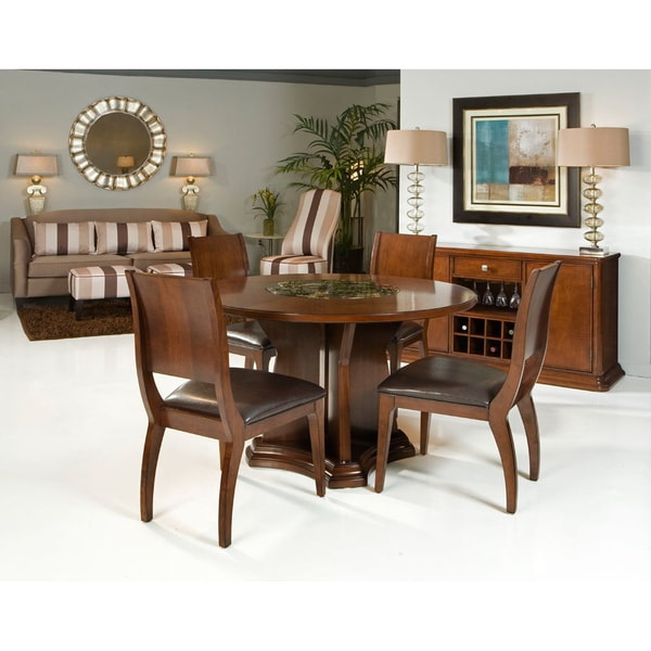 transitional 5 piece round dining set with built in lazy susan