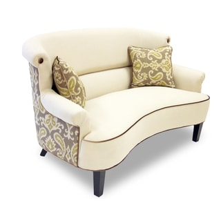 iKat Cream Curved Back Loveseat
