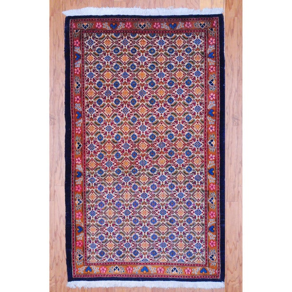Persian Hand-knotted Tribal Tabriz Ivory/ Rust Wool Rug (3'4 x 5'6)