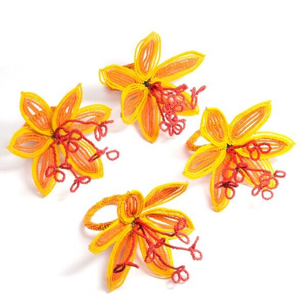 Set of 4 Orange and Yellow Flower Napkin Rings (India)