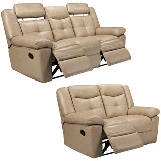 Cove Taupe Italian Leather Reclining Sofa and Loveseat
