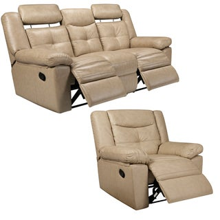 Cove Taupe Italian Leather Reclining Sofa and Recliner Chair