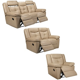 Cove Taupe Italian Leather Reclining Sofa, Loveseat and Recliner Chair
