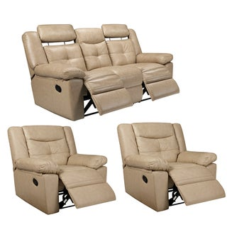 Cove Taupe Leather Reclining Sofa and Two Recliner Chairs