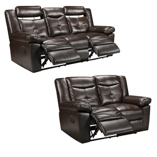 Tex Espresso Brown Italian Leather Reclining Sofa and Loveseat