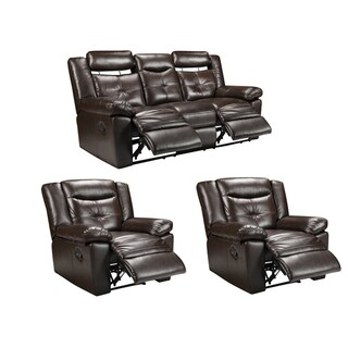 Tex Espresso Brown Leather Reclining Sofa and Two Recliner Chairs