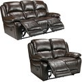 Lauren Espresso Brown Italian Leather Reclining Sofa and Loveseat