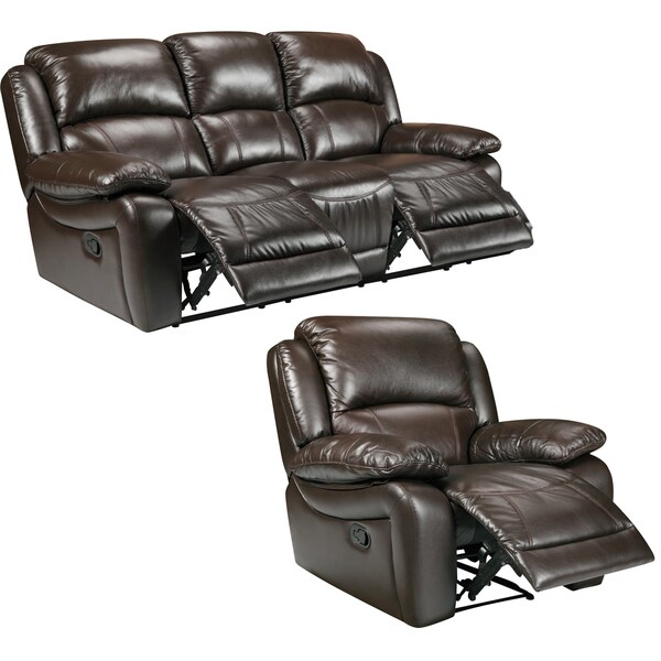 Lauren Espresso Brown Italian Leather Reclining Sofa and Recliner Chair