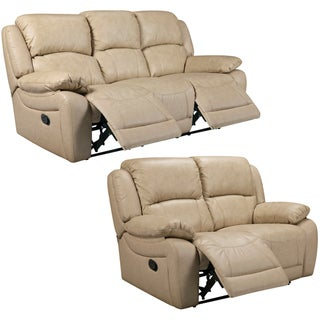 Mac Taupe Italian Leather Reclining Sofa and Loveseat