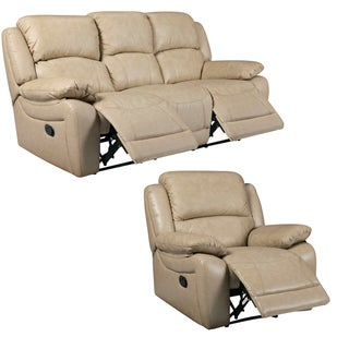 Mac Taupe Italian Leather Reclining Sofa and Recliner Chair