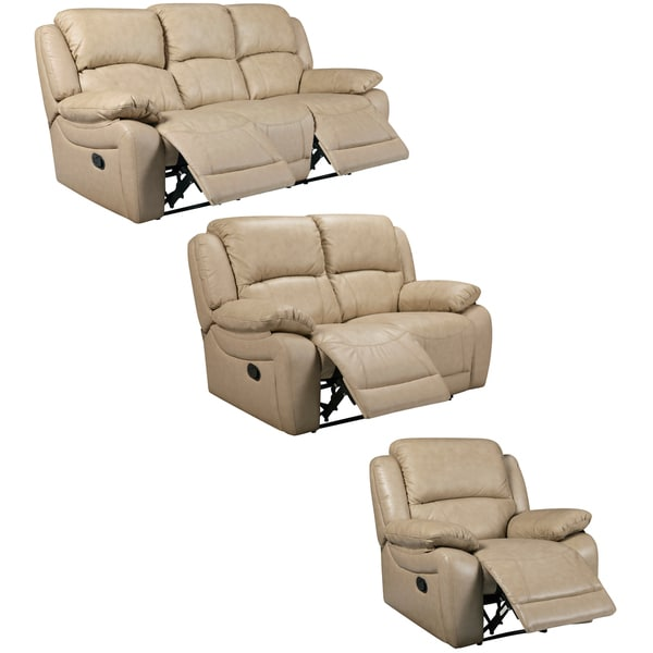 Mac Taupe Italian Leather Reclining Sofa, Loveseat and Chair