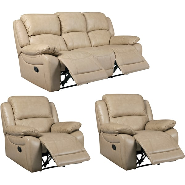 Mac Taupe Leather Reclining Sofa and Two Recliner Chairs