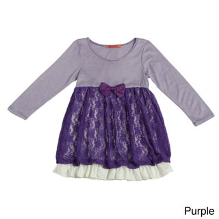 Funkyberry Girls Long Sleeve Lace Striped Dress