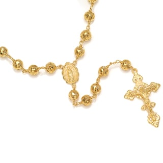 Sterling Essentials 14k Gold over Bronze Rosary Necklace