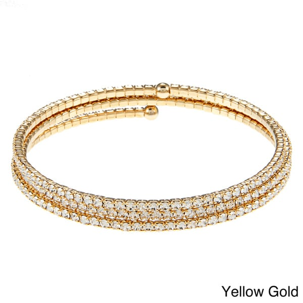 Sterling Essentials Plated Bronze CZ Adjustable 3-row Bangle