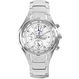 SEIKO Men's Chronograph White Dial Stainless Steel Watch