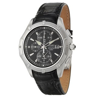 SEIKO Men's Coutura Black Dial Leather Chrono Watch