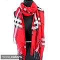 Red and Black Plaid Fringed Pashmina Fashion Scarf