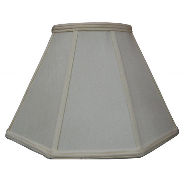 White Fabric Square Cut Bell Shade with Piping