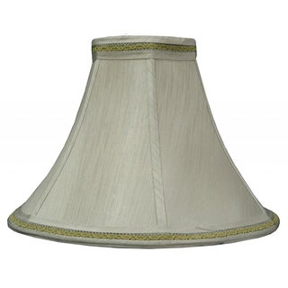 Gold Finish Fabric Bell Shade with Decorative Trim and Piping