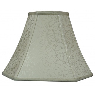 Tan Silk Embroidered Look Fabric Square Cut Bell Shade
