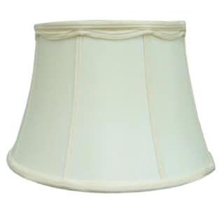 White Fabric Bell Shade with Decorative Trim and Piping