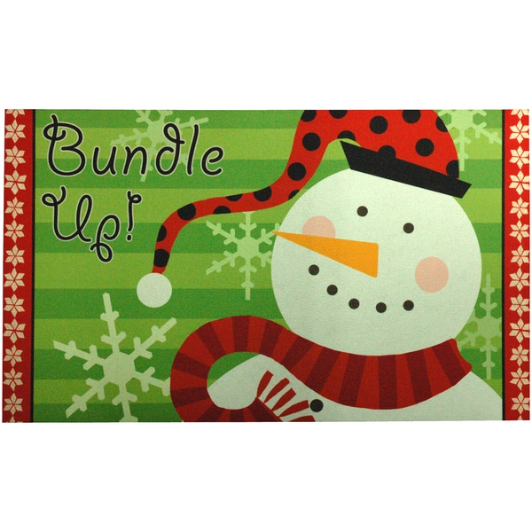 Outdoor Bundle Up Snowman Doormat