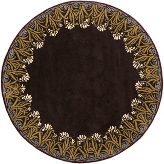 Smithsonian Hand-tufted Bastile Brown Floral Border Wool Rug (8' Round)