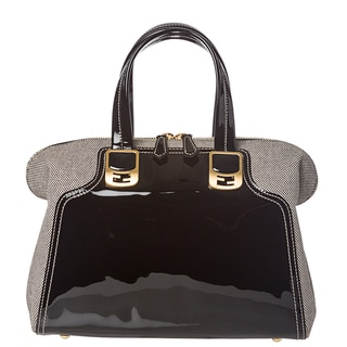 Fendi Women's Black and White Chameleon Shaped Leather and Canvas Satchel