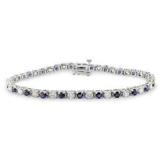 Miadora 14k Gold Sapphire and 2ct TDW Diamond Bracelet (G-H, SI1-SI2)