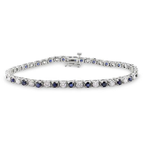 Miadora 14k Gold Sapphire and 2ct TDW Diamond Bracelet (G-H, SI1-SI2)