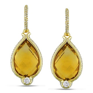  Miadora 14k Gold Citrine and 1 1/10ct Diamond Earrings (G-H, SI1-SI2)