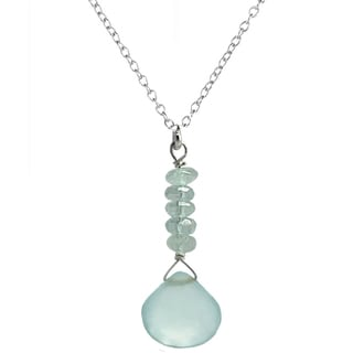 Ashanti Sterling Silver Aquamarine and Chalcedony Necklace (Sri Lanka)