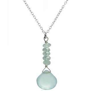 Ashanti Aquamarine and Chalcedony Sterling Silver Necklace (Sri Lanka)