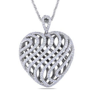 Miadora 14k Gold 2 1/2ct TDW Diamond Heart Necklace (H-I, SI1-SI2)