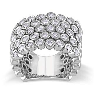 Miadora 14k Gold 1 3/5ct TDW Bezel Set Pave Diamond Ring (G-H, SI1-SI2)