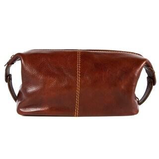 Alberto Bellucci Milano Leather Travel Kit Dopp Toiletry Bag