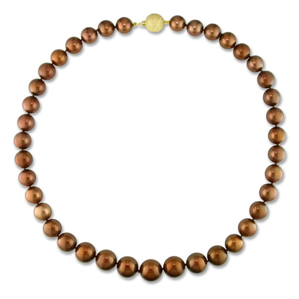 Miadora Signature Collection 14k Gold Brown Tahitian Pearl Necklace (10-14 mm)