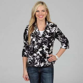 Celebrating Grace Women's Black White Floral Print Catalina Jacket