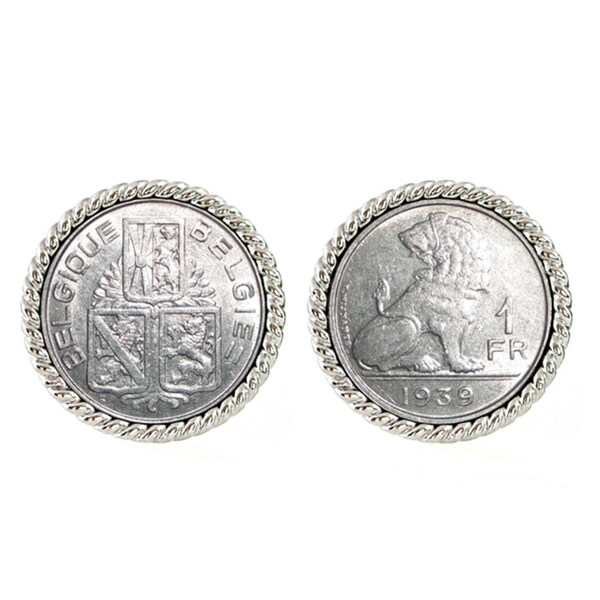 American Coin Treasures Silvertone Belgium Coin Cuff Links