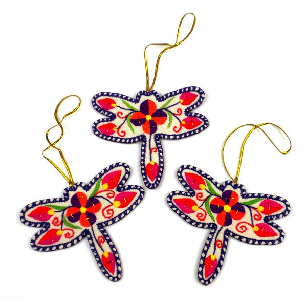 Embroidered Holiday Ornament Set of Three Dragonflies (China)