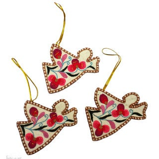 Embroidered Holiday Ornament Set of Three Angels (China)