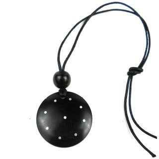 Ebony Disk with Inlaid Aluminum Dots Necklace (Mozambique)