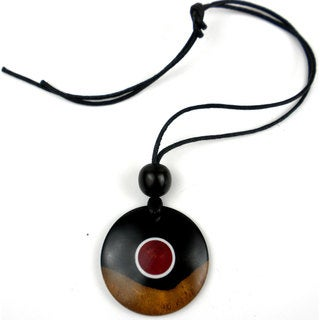 Two-Tone Ebony Disk with Rose Center Necklace (Mozambique)